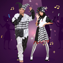 New Black White Devious Harlequin Clown Fancy Dress Halloween Costume for Men Women