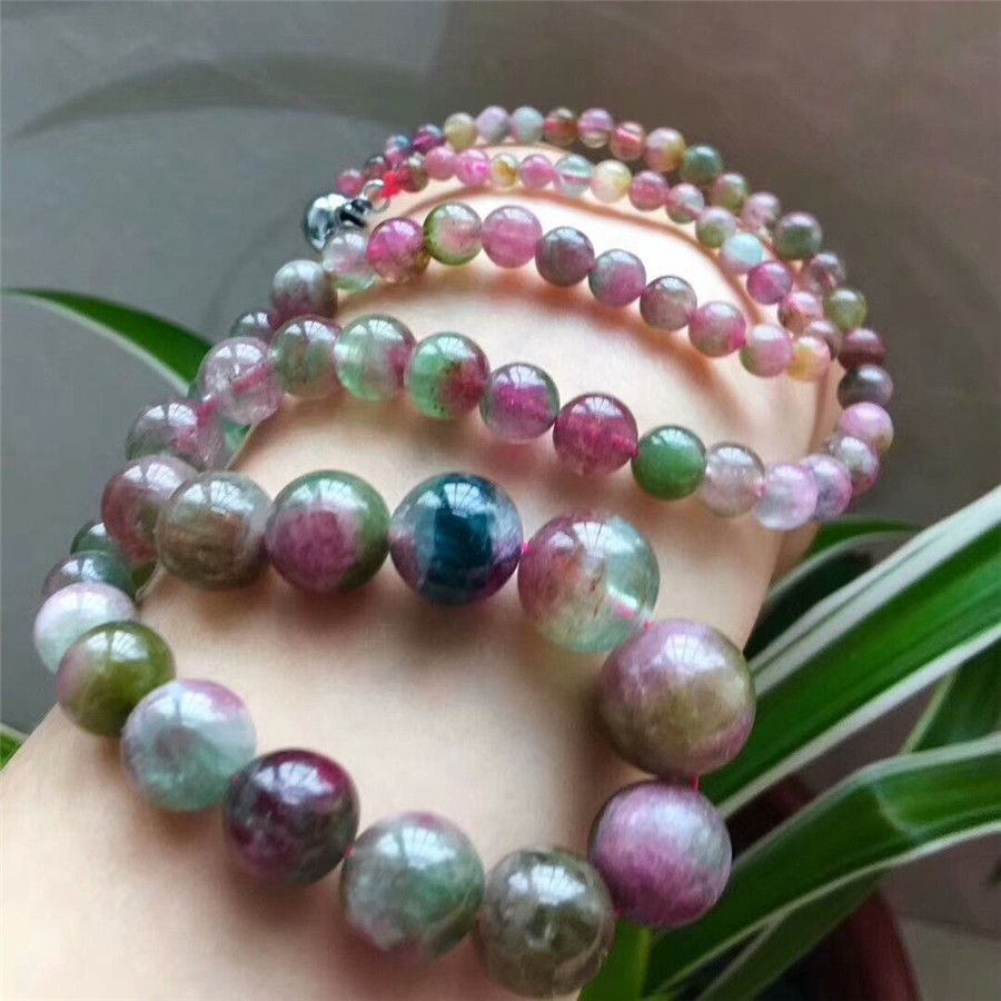 Genuine Natural <font><b>Watermelon</b></font> <font><b>Tourmaline</b></font> Gems Stone Beads Necklace 4-13mm AAAA image