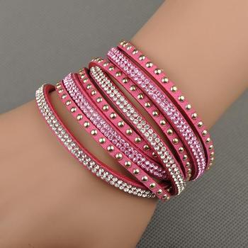 Lokaer Free Shipping Hot Sale Wholesale Fashion Wrap Bracelet Multilayer Bracelets 6 Colors To Choose For Women Gift WRBR-003