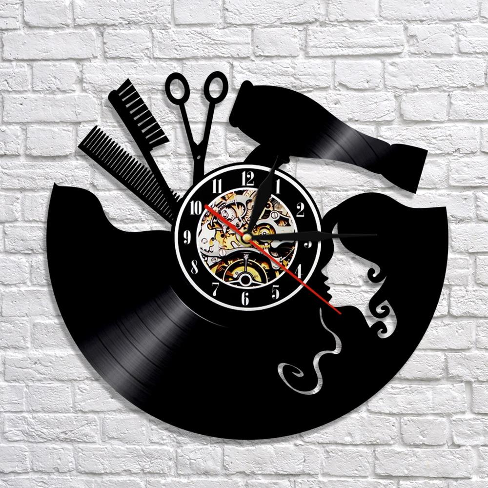 1PCS Barber Vinyl Record 3D Wall Clock Modern Design Wall Watch Barber Shop Hairdresser Wall Decor For Beauty Salon Dial Vision