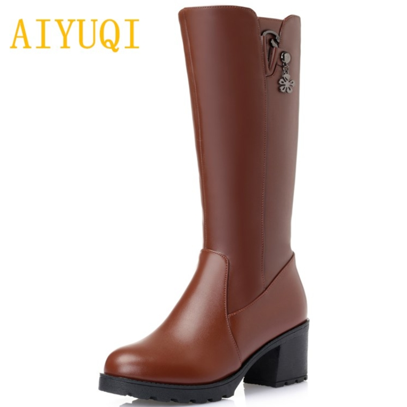 AIYUQI Genuine leather women's winter boots. 2018 new big size 41 42 43 women's wool boots. long rubber boots. for women shoes aiyuqi big size 41 42 43 women s comfortable shoes 2018 new spring leather shoes dress professional work mother shoes women page 4