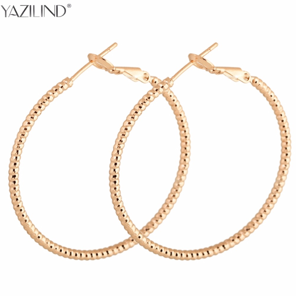 Yazilind Rose Gold Color Huge Oval Hoop Earrings Basket Ball Wives Earring  Jewelry For Valentine's Day