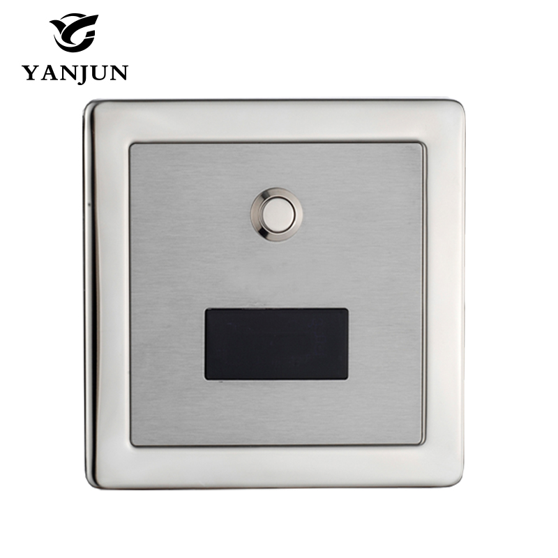 Yanjun Stainless Steel Automatic Toilet Flush Valve Sensor Manual 2 Function Square Concealed Wall Mount DC6v