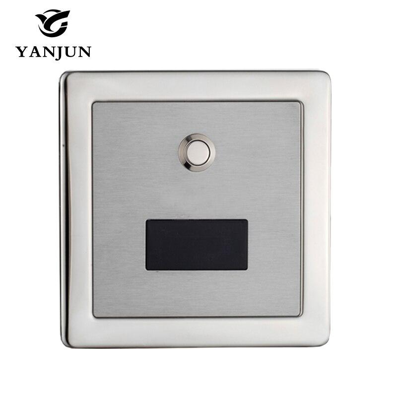 Yanjun Stainless Steel Automatic Toilet Flush Valve Sensor & Manuale 2 Funzione Piazza Incasso Montaggio A Parete DC6v YJ6350