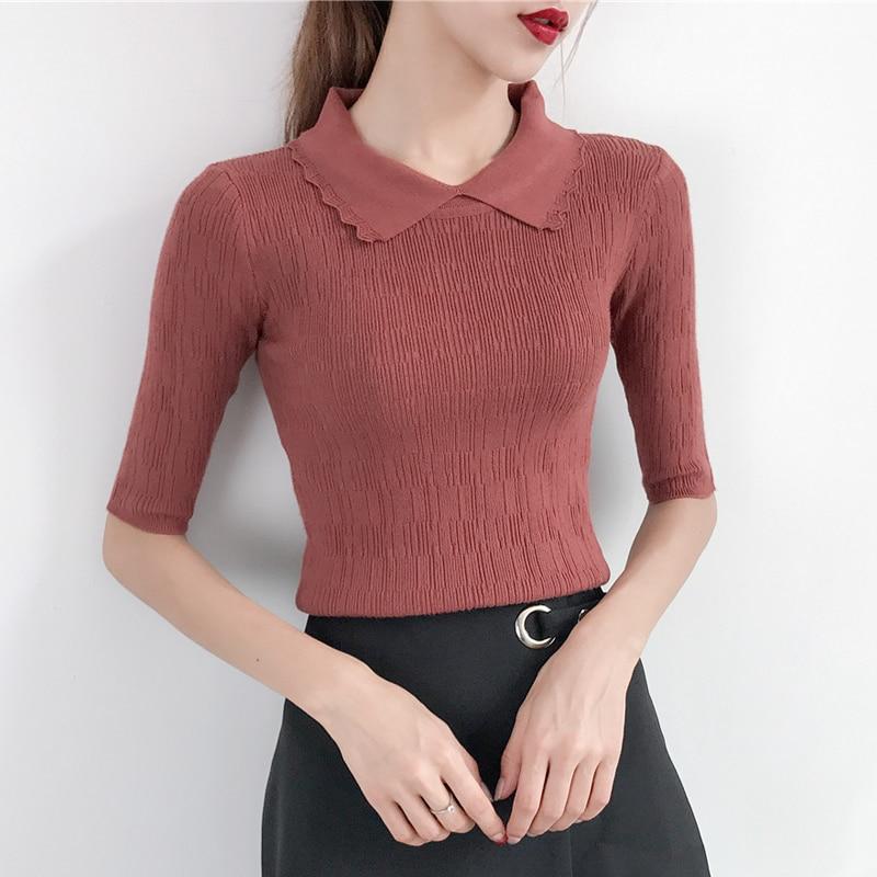 2018 Spring And Autumn Women Sweater Ice Silk Women Turn-down Collar Half Sleeve Women Top Sleeve Knitted Pullovers LJ 0890