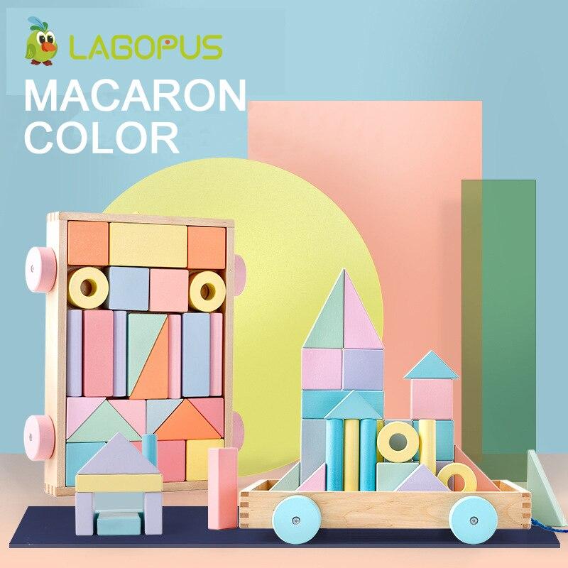 Lagopus Puzzle en bois Building Block jouets éducatifs pour Enfants Macarons Couleur Puzzle Jouet bloc de bois Scooter pour Bébé