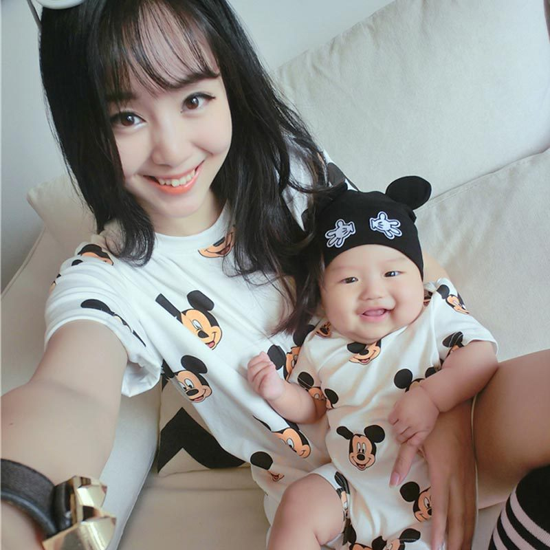 2017 summer mother daughter dresses family matching clothes children short sleeve T-shirt baby romper mother and son clothes