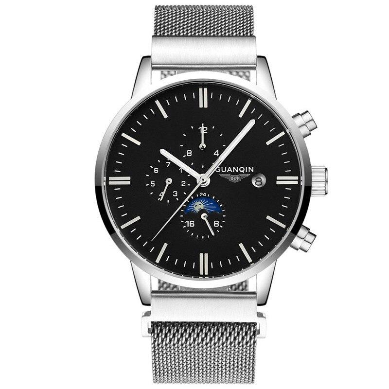 GUANQIN GJ16045 2017 Fashion Watch Men Watch Men's Watch Luxury Famous Brand 24 Hour Calendar Week Month Moon Phase Mechanical
