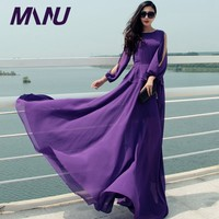 WBCTW Langarm Kleid Solide Lila Hohe Taille A-linie Stil Frau Kleid Maxi Lange Elegante 9XL 10XL Plus Größe Kleid
