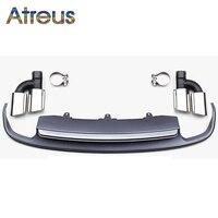 Atreus A6 C7 Grey PP Rear Bumper Diffuser spoiler With Car Exhaust PIpes Tip For Audi A6 C7 Accessories 4 door Sedan 2012 2016