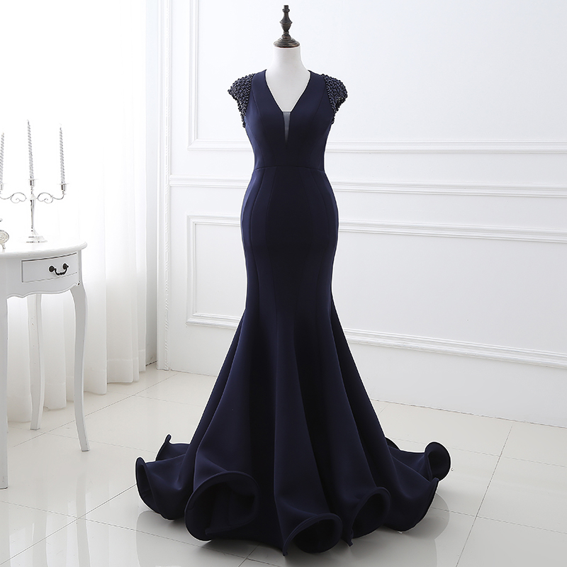 <font><b>Sexy</b></font> <font><b>2018</b></font> <font><b>Evening</b></font> Gown for Women V Neckline Open Back Mermaid <font><b>Evening</b></font> <font><b>Dresses</b></font> Long Blue Satin Beaded image