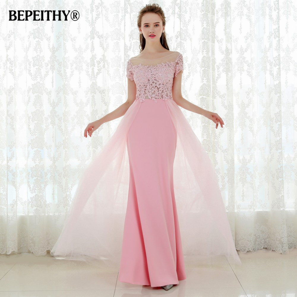 Vestido De Festa Short Sleeves Long   Prom     Dresses   Pink Sexy Evening   Dress   Party Elegant Vestido Longo 2019