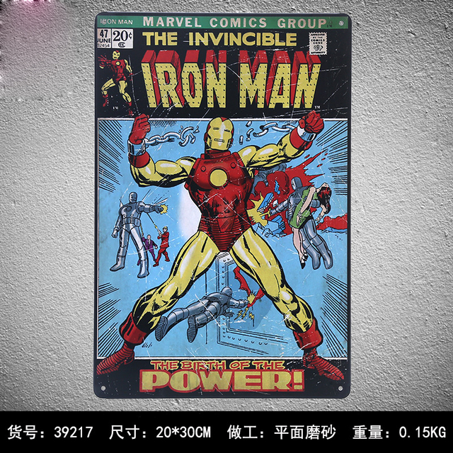 THE INVINCIBLE IRON MAN Vintage Metal Signs Retro Tin Plate Iron Plaque  Home Decor Wall Art