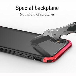 Image 4 - Für iPhone X Fall Metall Dünne Abdeckung Gehärtetem Glas Aluminium Kunststoff Seite Hybrid Abdeckungen für iPhoneX 10 Klar Fall Original luxus