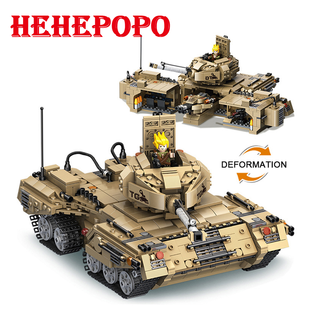 Hot Big Size1435pcs.DIY Deformation Tank Creative Building Bricks Kids' 2 Modes Tank With Weapon Attachment Assembled Blocks Toy