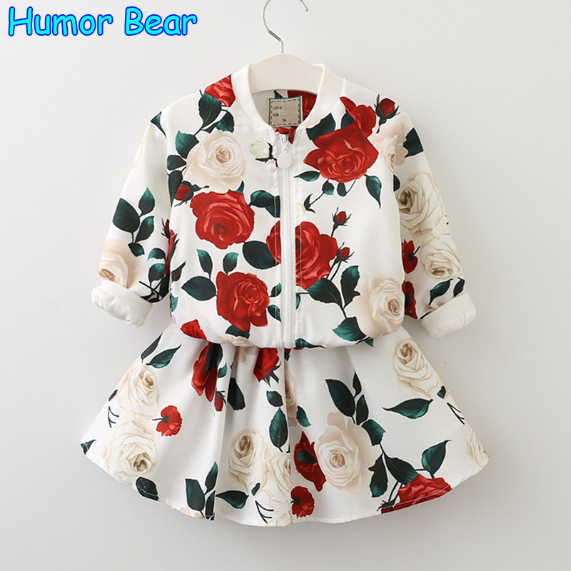 Humor Bear Girls Clothing Sets 2017 New summer European and American Style Printing Design Kids Clothing Sets Children clothing new next fall girls graffiti sets european and american style printing zipper cardigan cartoon princess hot sale children s sets