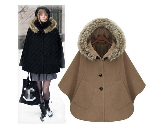 cfead834f Winter cape coat for women british style hooded fur cloak european style  fashion womens capes and ponchoe girl Fur collar cloaks