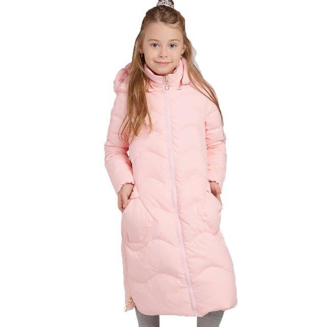 Россия Стиль зимние пальто для девочек Детская Костюмы Обувь для девочек длинные утепленные теплые парки Дети утка Пух куртка для Обувь для девочек От 7 до 14 лет