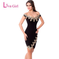 2017 Summer Womens Elegant Off Shoulder Mini Dress Black Sexy Party Robes Gold Lace Applique Bodycon