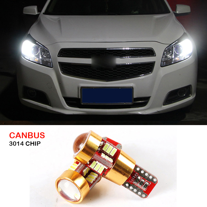2pcs Canbus T10 W5W SMD 3014 27 LED Car Parking Lights Wedge Light For Chevrolet Cruze Aveo Captiva Lacetti Sail Sonic Camaro deechooll 2pcs wedge light for mazda 2 3 5 6 mx5 rx8 cx7 626 gf gg ge gw canbus t10 57smd 6w led clearance xenon lighting bulbs
