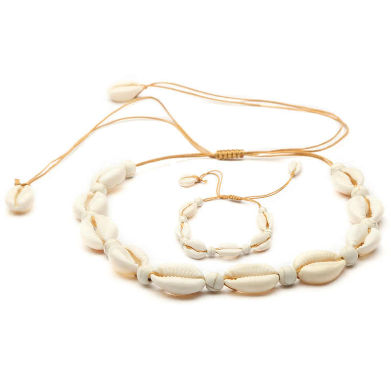 JCYMONG New Arrival Natural Shell Cowrie Bracelets Necklaces For Women 2019 Bohemian Rope Chain Beach Party Jewelry Set Gift