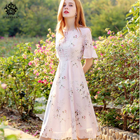 Women Summer Dress 2018 Elegant O Neck Floral Print Casual Chiffon Beach Dresses Short Party Dresses