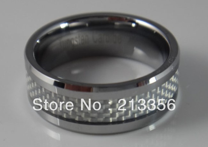 Free Shipping !Cheap Price Promotion Sales! USA Hot Selling Mens Tungsten Carbide Ring Wedding Band With White Carbon Fiber Ring