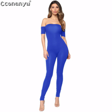 Sexy Women Off Shoulder Short Sleeve Jumpsuit Elegant 2019 Summer Black Jumpsuits for Rompers and Skinny Clubwear