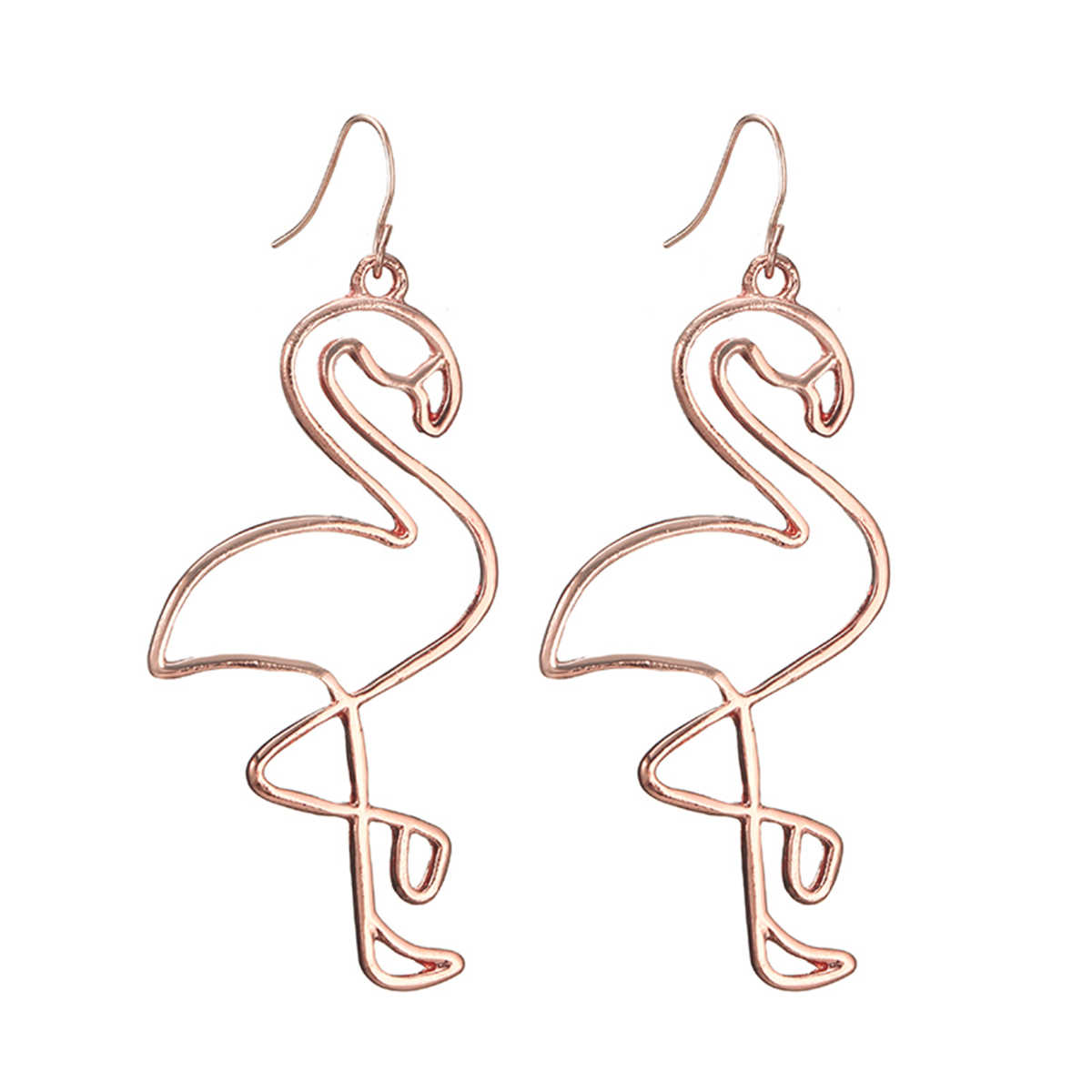 99f2caf07 Creative Hollow Flamingo Pendant Earring For Women Chic Temperament Animal  Dangle Earring Shellhard Fashion Jewelry Femme