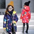 Roupas de inverno 2016 das crianças meninas acolchoado casacos moda impresso engrosse com capuz de algodão bebê menina casacos para meninas miúdos