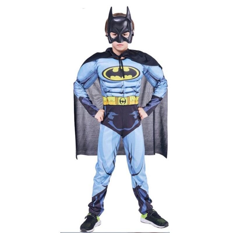 Niños musculosos Batman disfraces con capa niños personaje de película superhéroe juego de rol traje de Halloween carnaval Brave Hero Cosplay Set