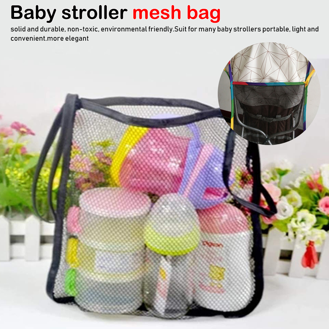 Infant Pram Cart Mesh Hanging Storage Bag Baby Trolley Bag Stroller Organizer Seat Pocket Carriage Bag Stroller Accessories