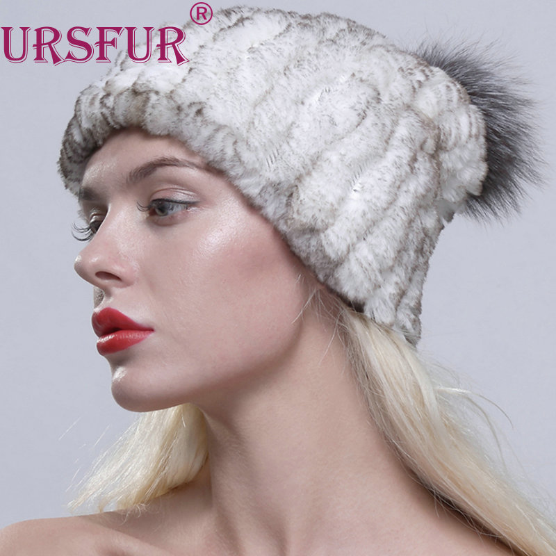 URSFUR Women's Real Knit Rex Rabbit Fur Beanie Hat Cap with Fox Fur Pom Pom free size casual  hat with elastic net flexible sanwa button and joystick use in video game console with multi games 520 in 1