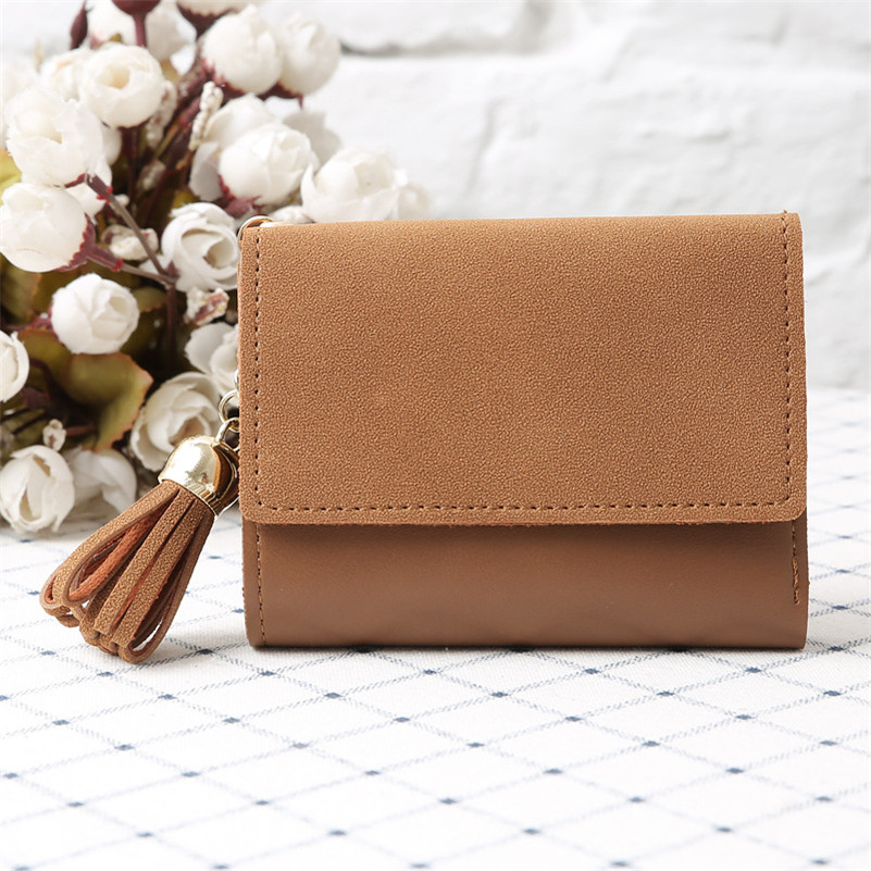 Smart Mini Slim Wallet PU Leather Purse Frosted Tassels Women Card Wallets Female Short Purses For Students Small Woman Wallet