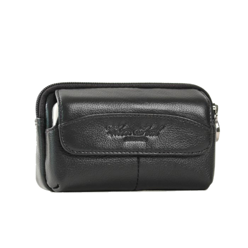 CHEER SOUL 2018 New Style Genuine Leather Male Bag Small pockets High Quality Fashion High Capacity Wear Belt Mobile phone Bag