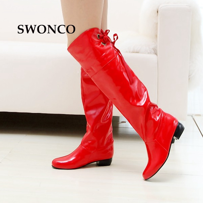 SWONCO Womens High Boots 2018 Autumn Winter PU Leather Knee-high Boot Female Shoes Leather Boots Women Black Shoes Size 34-47SWONCO Womens High Boots 2018 Autumn Winter PU Leather Knee-high Boot Female Shoes Leather Boots Women Black Shoes Size 34-47