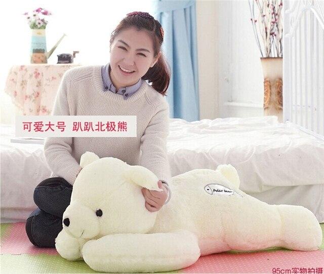 large 90cm white bear toy prone polar bear plush toy sleeping pillow ,birthday gift h968 подгузники polar bear canada 31