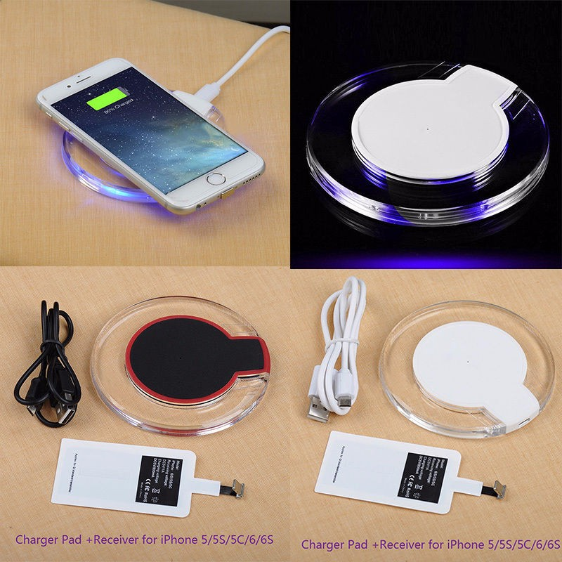 Qi Wireless Charger For iPhone 7 6S Plus SE 5S 5C 5 Wireless Receiver Cover Case Charging Bank Power Pad For iPhone 7 6 6S Plus