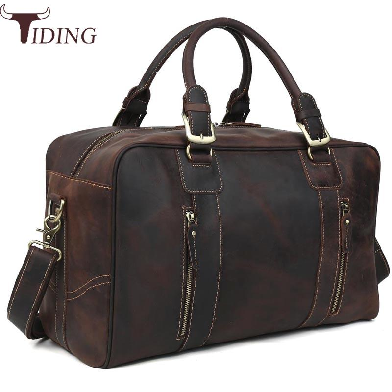 Tiding Luxury Cow Leather Mens Travel Bags Vintage Weekender Bag Travel Totes Zipper Duffle Bag Travelling