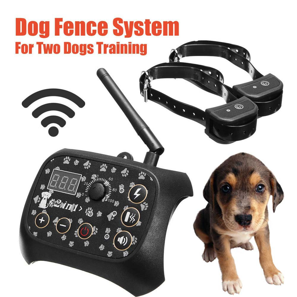 Wireless Dog Training Shock 2 Collar Fence Containment Pet Trainer Dogs System E2S