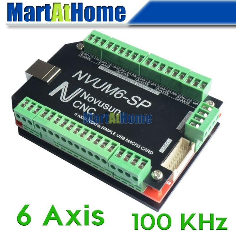 CNC Router Simple 100KHz 6 Axis Mach3 USB Motion Control Card Breakout Board #SM758 @SD mach3 usb motion controller card breakout board for cnc engraving 4 axis 100khz