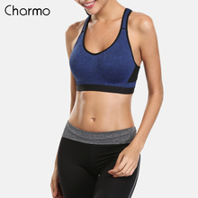 Charmo Women High Impact Sports Bra Solid Color Yoga Bra Gym Cross Backless Underwear Fitness Breathable Push Up Running Top high impact anti shock backless design elactic sports bra in rose