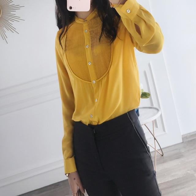 b58f793776350c European High End Women Elegant Work Shirt New Design 2017 Autumn Winter  Office Lady Long Sleeve Loose Real Silk Shirts brand