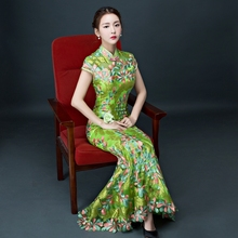 Chinese Traditional Green Lace Fish Modern Qipao Long Wedding Embroidery Cheongsam Dress Bride Traditions Oriental Evening Gown
