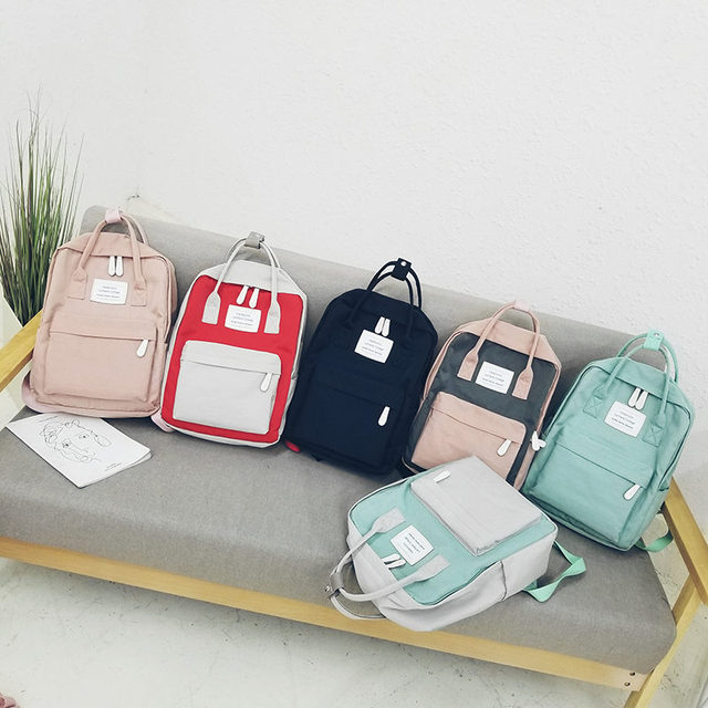 Women Hot Canvas Backpacks Candy Color Waterproof  School Bags for Teenagers Girls Laptop Backpacks Patchwork Backpack New 2019 5