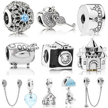 Couqcy 2019 Christmas Gift 1pc Silver Color Pig Big Hole Bead Charms Fit European Pandora Style Bracelet DIY Pendant(China)