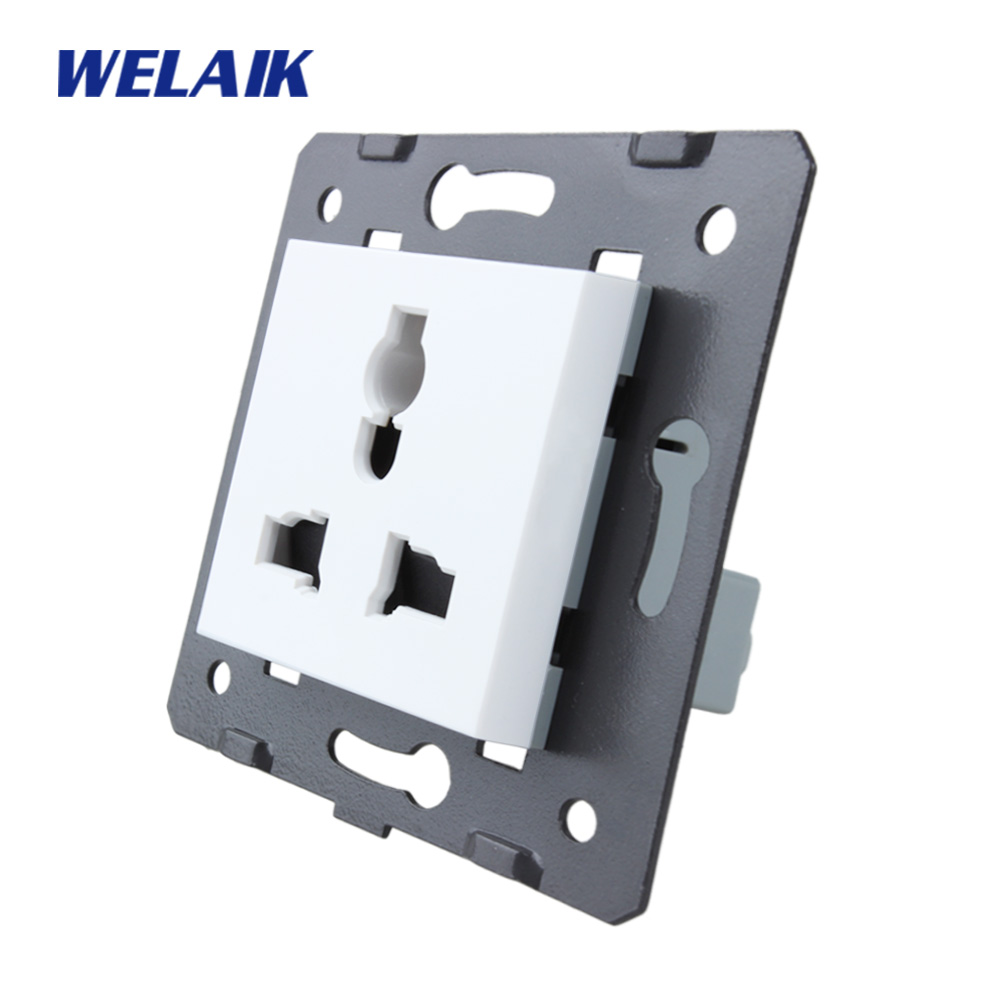 WELAIK Brand EU Standard Three-hole multi-functi Power Socket DIY Parts White Wall Socket parts Without Glass Panel A8MUW/B diy parts rca socket connectors white silver 10 piece pack