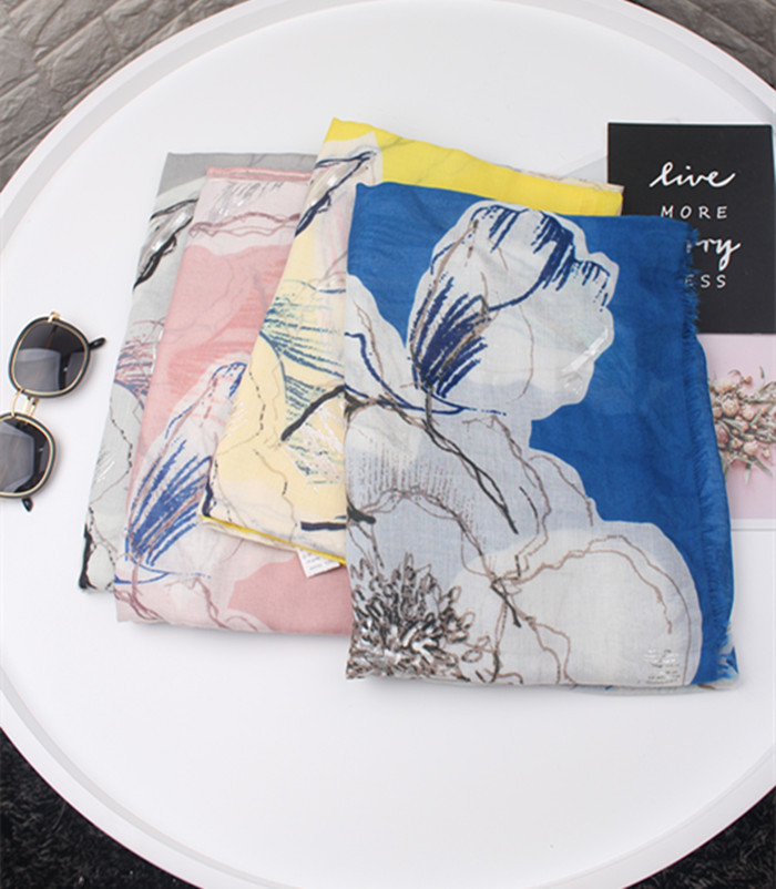 2019 Fashion Ombre Flower Siver Foil Scarves And Shawls Floral Luxury Scarf Wrap Hijab Muffler Wholesale 10pcs/lot Free Shipping