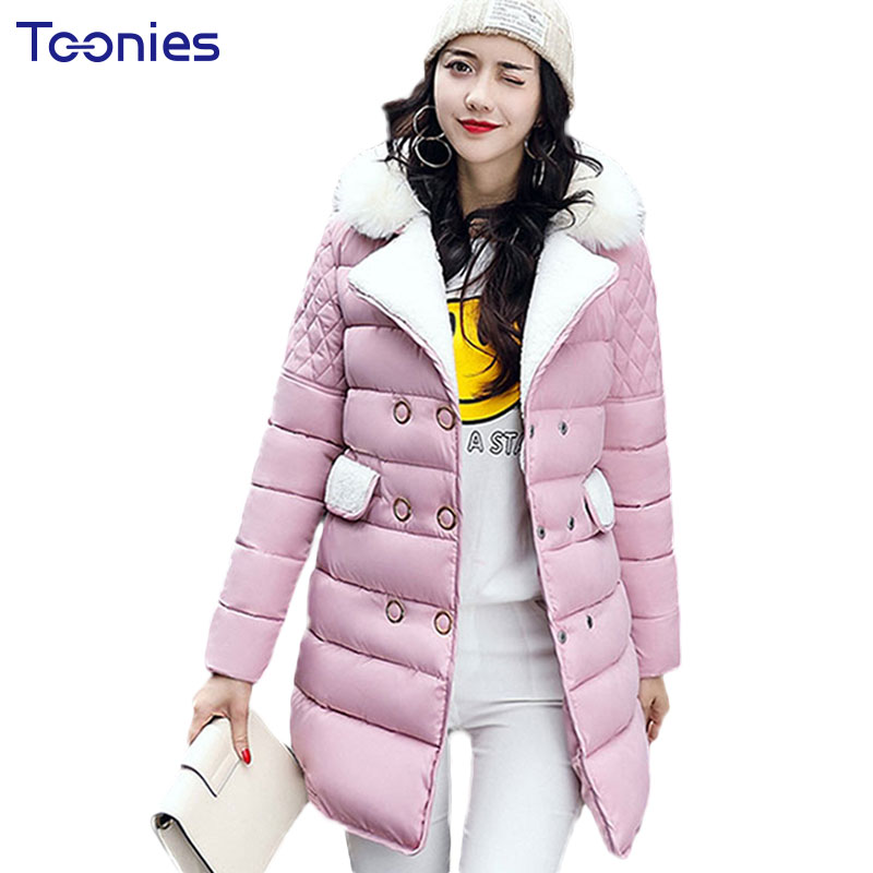 Thick Cotton Hooded Down Coat for Maternity Women Jacket Clothing Winter Long Fur Collar Button Pregnancy Outwear Plus Size XXXL fashionable thick hooded pleated down coat for women