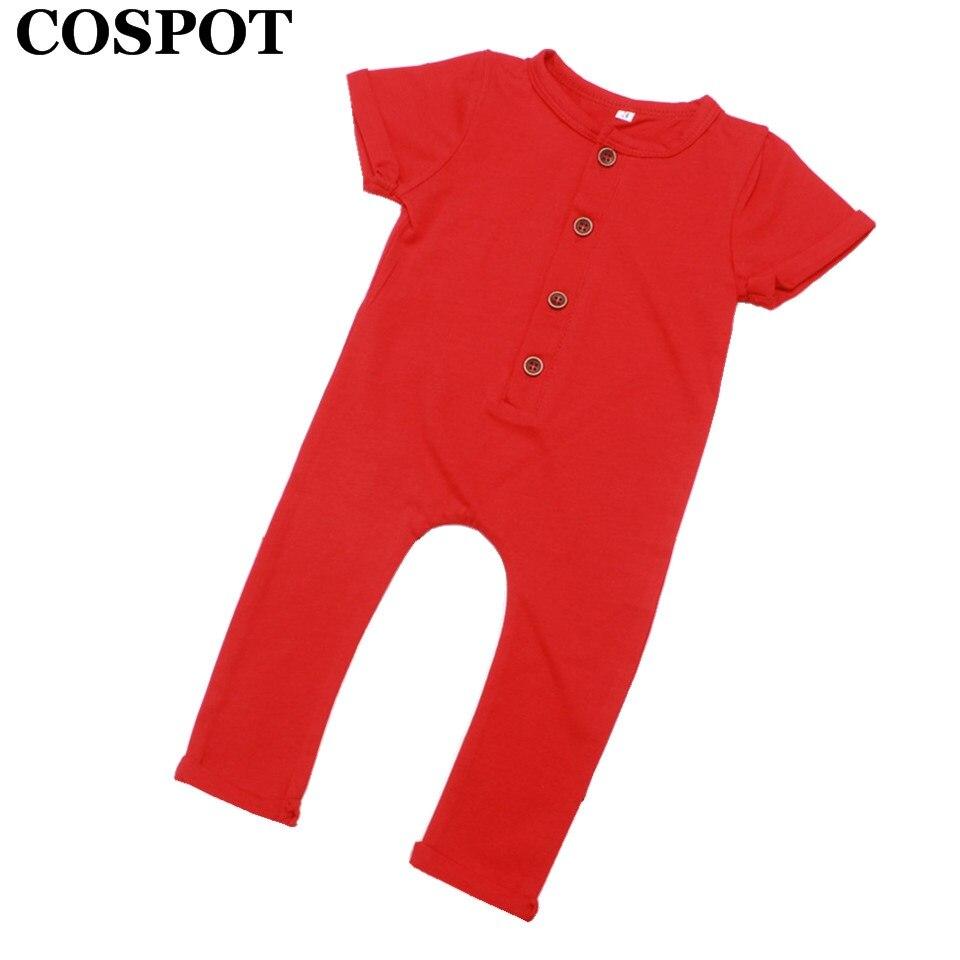 COSPOT Baby Boys Girls Summer Romper Newborn Cotton Jumpsuit Infant Plain Color Red Gray Pajamas Jumper 2018 New Arrival E33